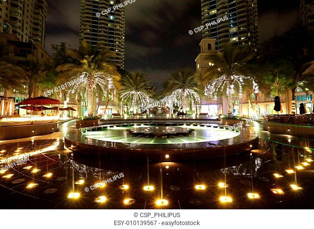 Fountain in Dubai Marina at night, United Arab Emirates