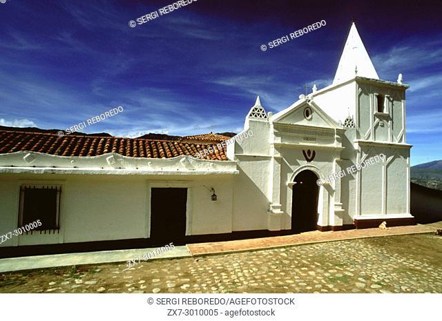 Church in Los Nevados village in andean cordillera Merida state Venezuela