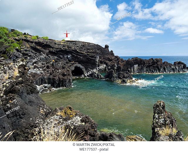 Village Urzelina, traditional windmills, Freguesia de Urzelina. Sao Jorge Island, an island in the Azores (Ilhas dos Acores) in the Atlantic ocean
