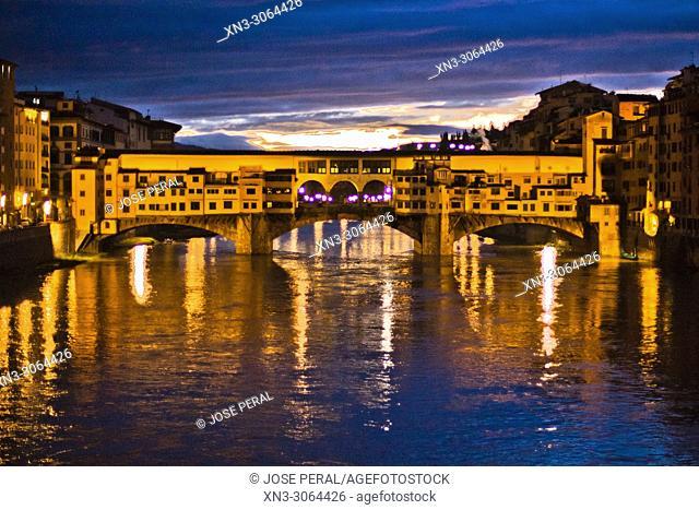 Ponte Vecchio, Old Bridge, Arno River, Florence, Tuscany, Italy, Europe