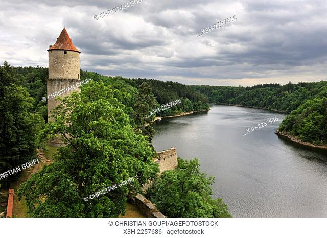 Zvikov Castle at the confluence of the Vltava and Otava rivers, next to the village of Zvikovske Podhradi, district of Pisek, South Bohemian Region