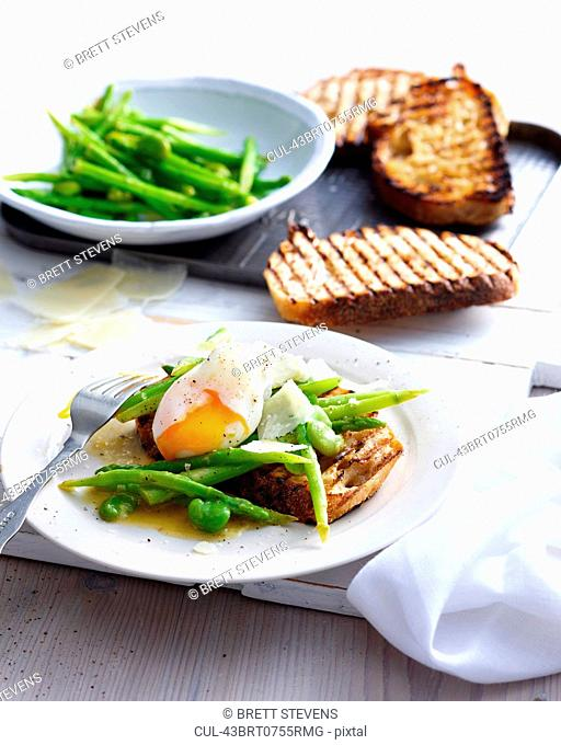 Plate of egg with toast and beans