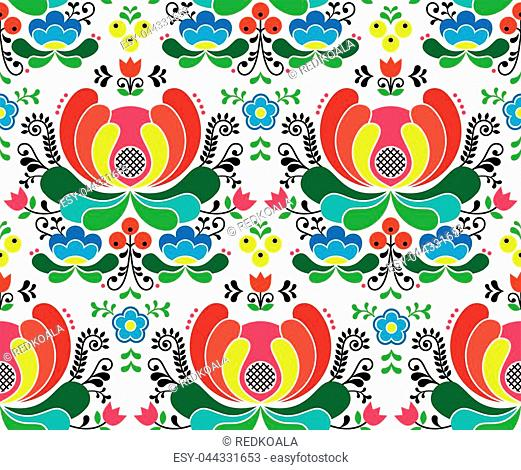 Scandinavian repetitive ornament of floral folk art from Norway on white