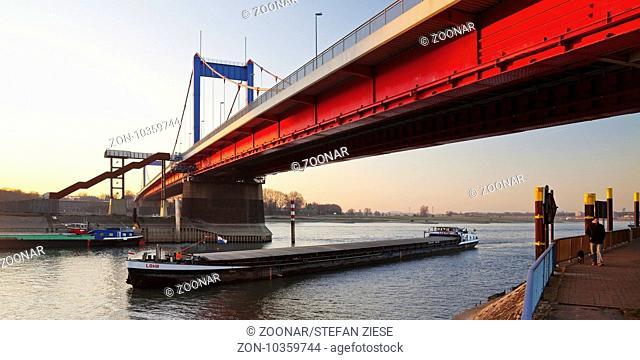 brigde Friedrich-Ebert-Bruecke over the river Rhine, Duisburg, Ruhr Area, Germany, Europe