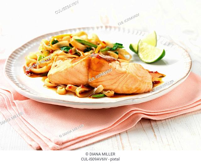 Scottish salmon with teriyaki sauce, noodles and stir fry vegetables