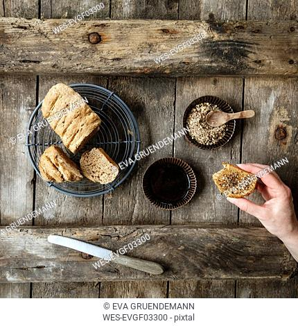Traditionally Egyptian nut spice blend dukkah with bread and olive oil