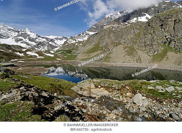 Gran Paradiso National Park between Piemonte Piedmont and Aosta valley Italy Garian Alps on the way to the Colle di Nivolet in the Valle di Locana at the Lago...
