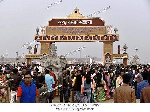 Marigaon, Assam, India. 8 Feb. 2019. Devotees throng in the entrance gate during 88th session of Srimanta Sankardev Sangha Adhibeshan in Marigaon