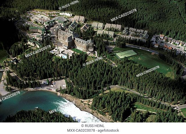 Aerial of Banff Springs Hotel and surrounding area, Alberta, Canada