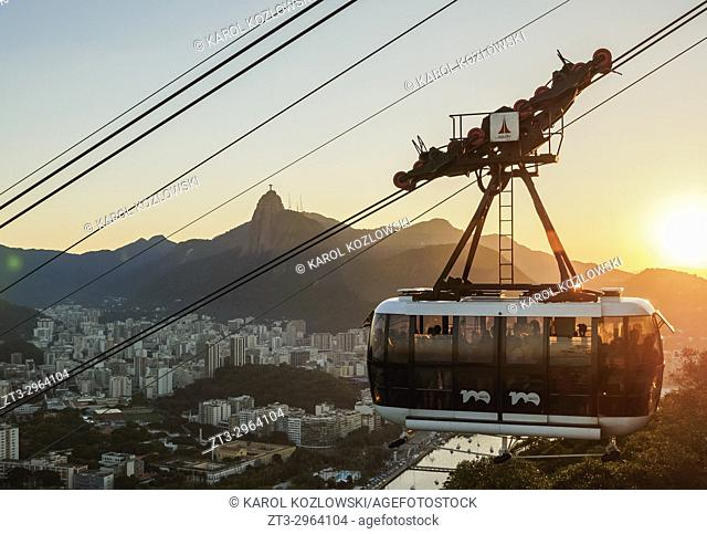 Cable Car to Morro da Urca and Sugarloaf Mountain at sunset, Rio de Janeiro, Brazil