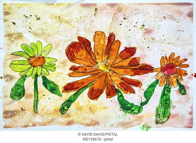 Childs watercolor drawing of flowers and gold flaking