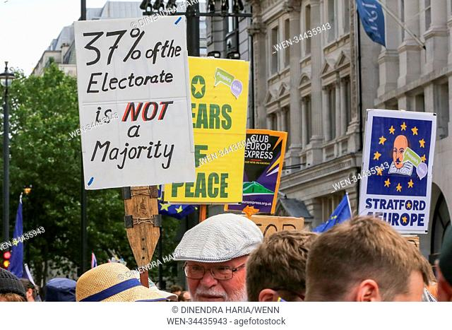 Tens of thousands of people take part in a march on the second anniversary of the 2016 referendum to Parliament, demanding a People's Vote on the final Brexit...