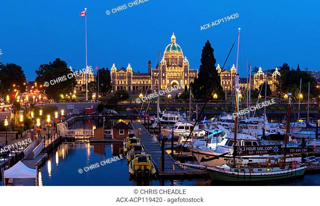 Inner Harbour and causeway with Empress Hotel and BC Parliament Buildings, Victoria, British Columbia, Canada