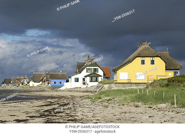 Holiday cottages at Graswarder nature conservation reserve on the Baltic coast at Heiligenhafen, Holstein, Germany