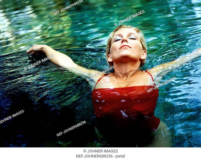 A Scandinavian woman in the water