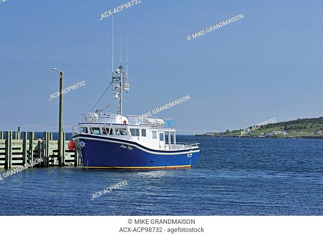 Tourist boat at dock Westport on Brier Island on the Digby Neck Nova Scotia Canada