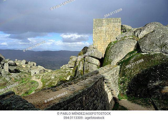 Castle over the rocks in Monsanto, Castelo Branco, Portugal