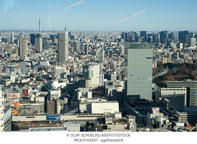 01. 01. 2018, Tokyo, Japan, Asia - A view of the endless urban skyline of Japan's capital Tokyo as seen from the observatory deck of the Tokyo Metropolitan...