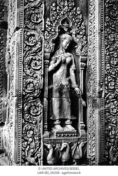 Relief am Tempel von Banteay Srei, Kambodscha 1970er Jahre. Relief at the temple of Banteay Srei, Cambodia 1970s