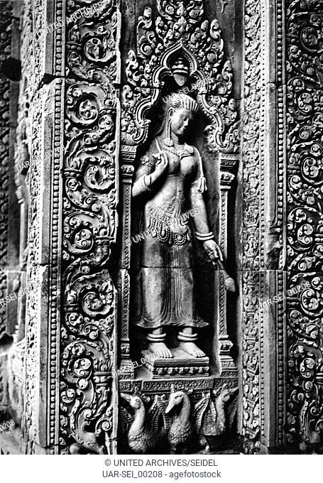 Relief am Tempel von Banteay Srei, Kambodscha 1970er Jahre. Relief at the temple of Banteay Srei, Cambodia 1970s