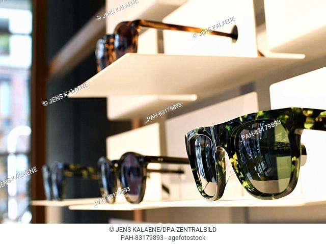 Different glasses lie in the flagship store of the Dutch glasses brand 'Ace and Tate' in Neue Schonhauser Strasse in Berlin, Germany, 23 August 2016