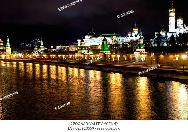 skyline with Kremlin embankment in Moscow