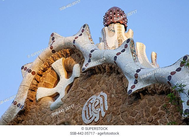 Architectural details of a building, Parc Guell, Barcelona, Catalonia, Spain