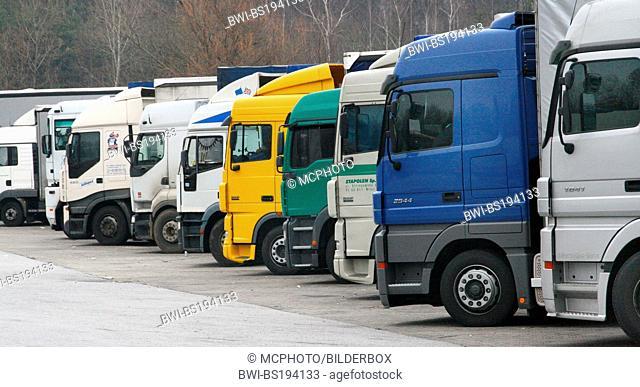 lorries at parking lot