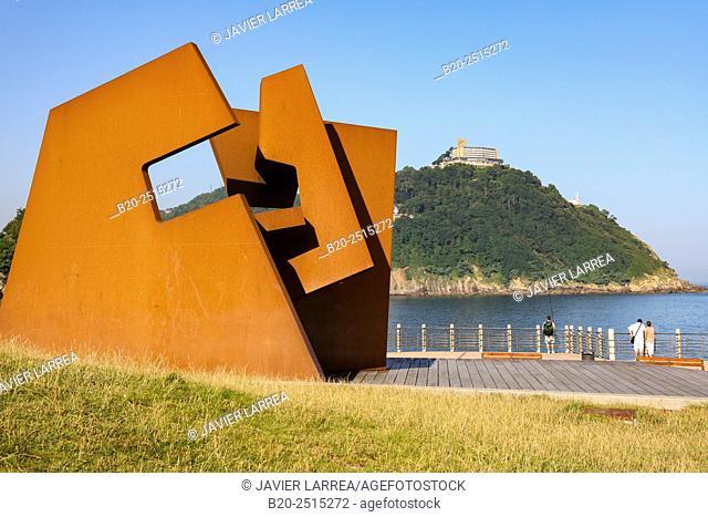 «Construccion Vacia« sculpture by de Jorge Oteiza. Paseo Nuevo. Monte Igeldo. Donostia. San Sebastian. Gipuzkoa. Basque Country. Spain