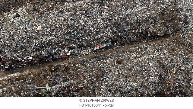 Directly above view of scrap metal yard, Duisburg, North Rhine-Westphalia, Germany