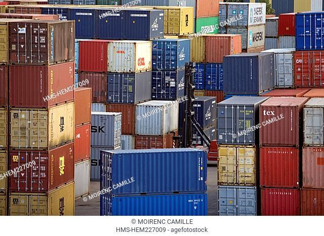 France, Rhone, Lyon, Edouard Herriot River Port Terminal Container