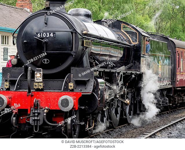 Vintage steam engine locomotive at Grosmont station, North Yorkshire Moors Railway, on the North Yorkshire Moors, Yorkshire, UK