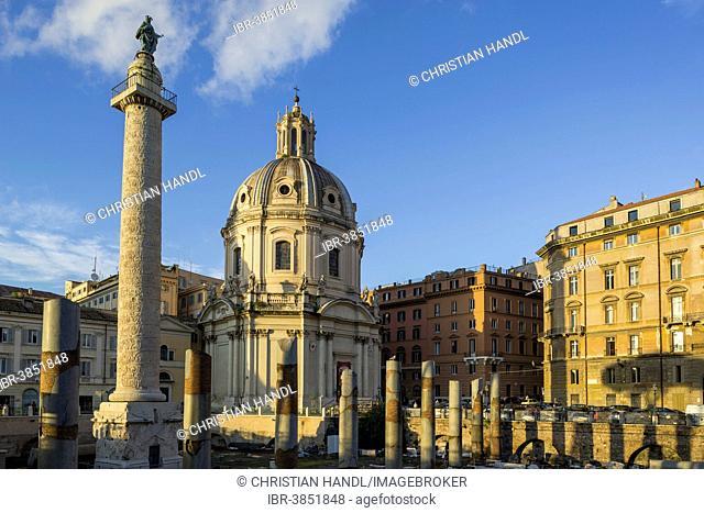 Trajan's Forum with Trajan's Column and the Church Santissimo Nome di Maria al Foro Traiano, Rome, Lazio, Italy