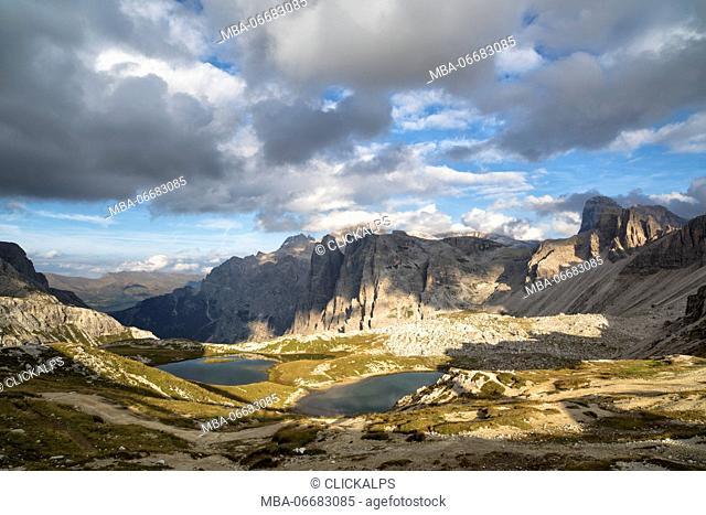 Sesto Dolomites,Bolzano province, Trentino Alto Adige, Italy, Europe.Piani lake,Croda Toni and Popera Group