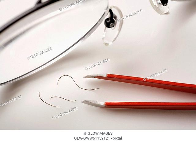 Close-up of eyeglasses with tongs