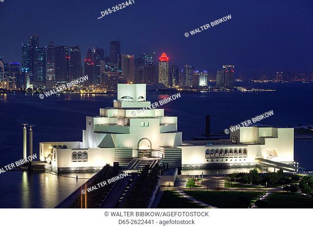 Qatar, Doha, The Museum of Islamic Art, designed by I. M. Pei, elevated view, dawn