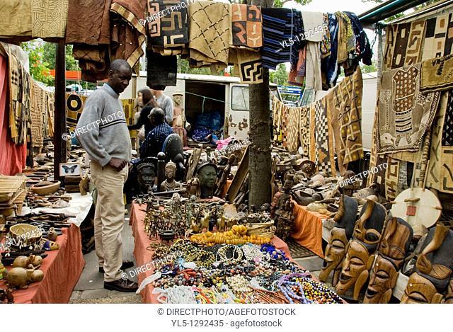 Paris, France, Shopping, Flea Market, Porte de Clignancourt, Antique Market, African Objects Shop, Display