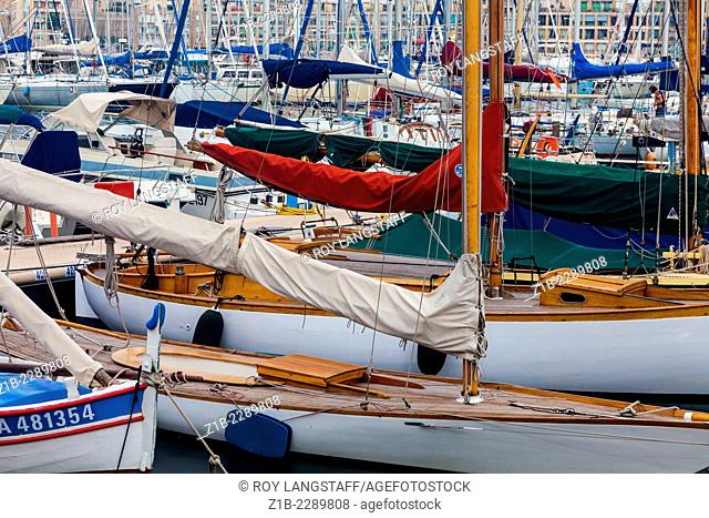 Abstract image of sailing vessels in the Vieux Port of Marseille
