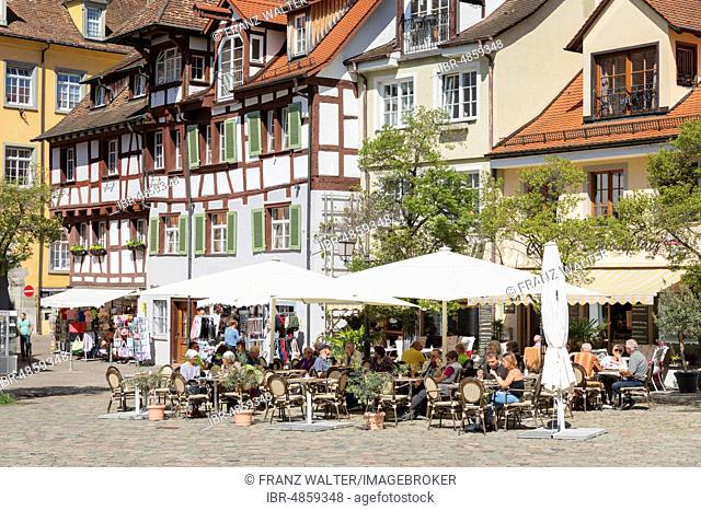 Cafe at palace square, Meersburg, Lake Constance region, Baden-Württemberg, Germany