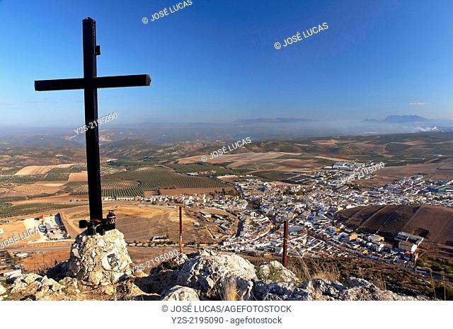Panoramic view and cross, Alameda, Malaga-province, Region of Andalusia, Spain, Europe