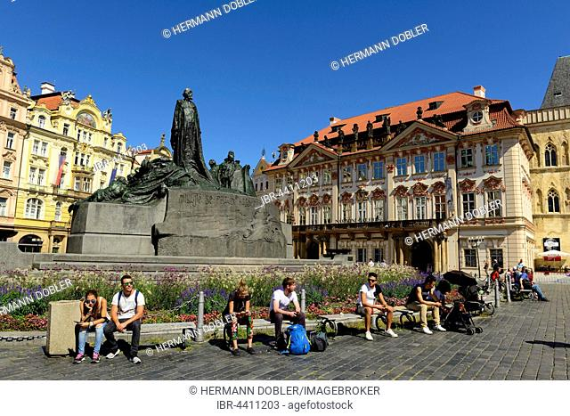 Jan Hus Monument, Palais Golz-Kinsky, Old Town Square, Prague, Czech Republic