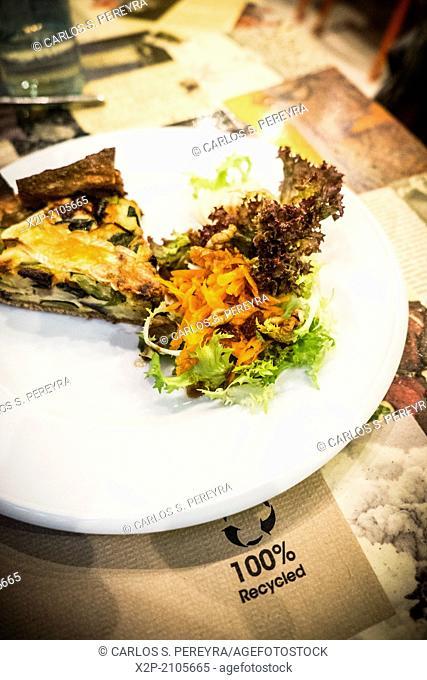 Vegetarian food Aguaribay restaurant in Poblenou, Barcelona, Catalonia, Spain, Europe