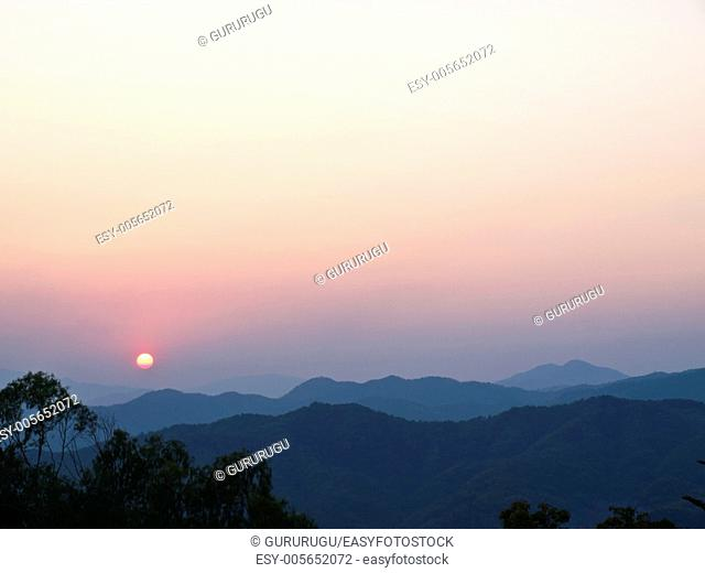 Sunset in the mountains, Doi Tung, Chiang rai, Thailand