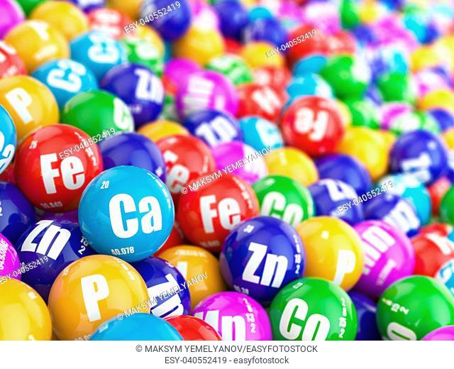 Dietary supplements. Variety pills. Vitamin capsules. 3d