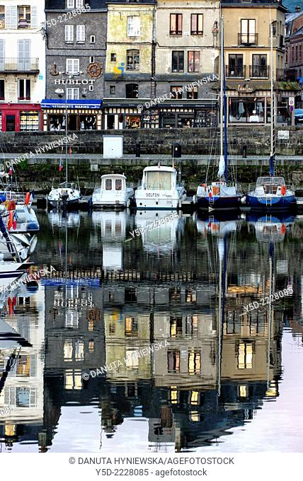 Picturesque reflections of old residential houses, Vieux Bassin, Honfleur, Calvados, Normandy, France