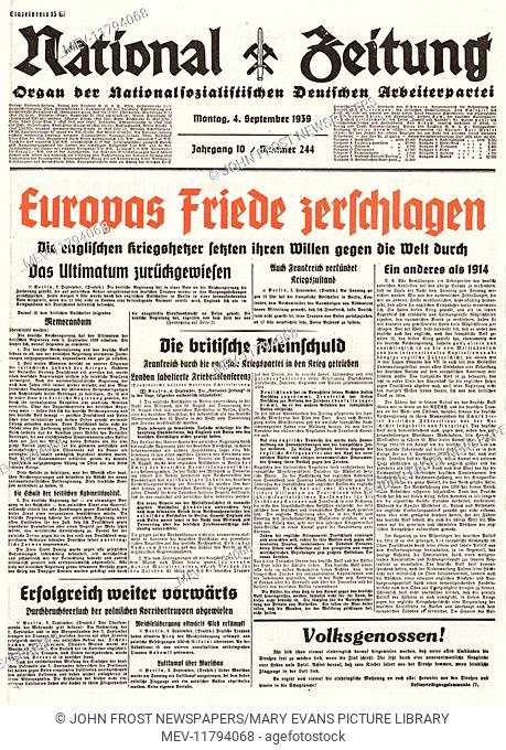 1939 National Zeitung (Germany) front page France and Britain declare war on Germany