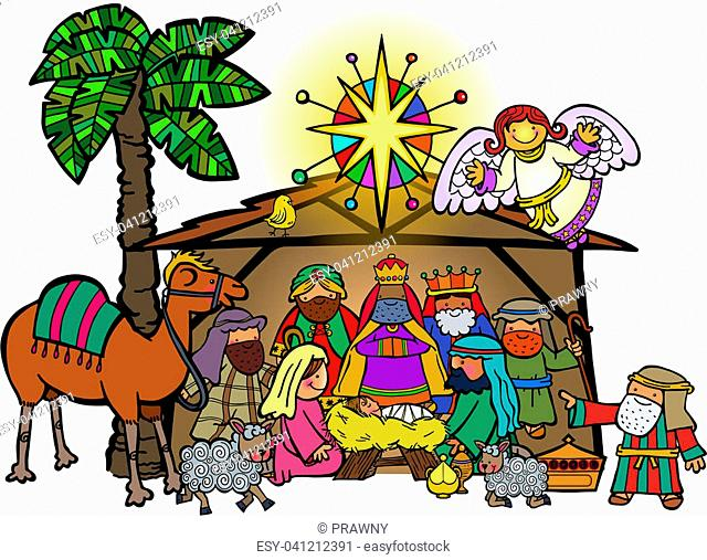 Hand drawn cartoon doodle depicting the Christmas nativity bible story