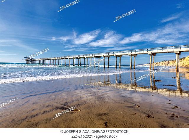 La Jolla Shores beach and the Ellen Browning Scripps Memorial Pier. La Jolla, CA, USA