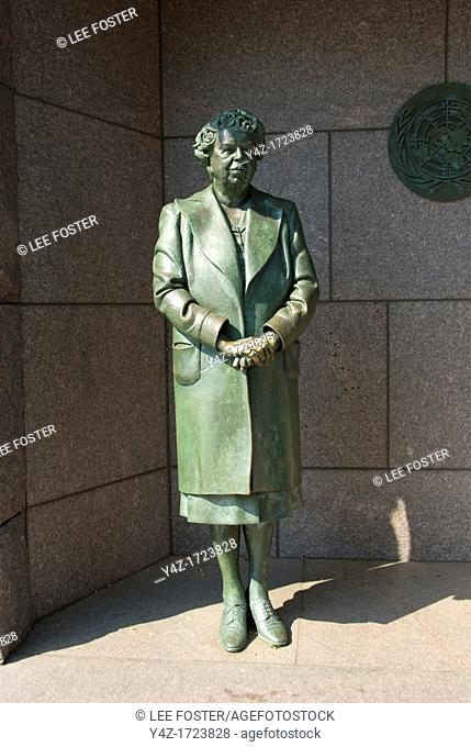 Washington DC, USA, at the Franklin Delano Roosevelt Memorial, a sculpture of Eleanor Roosevelt, wife of the President
