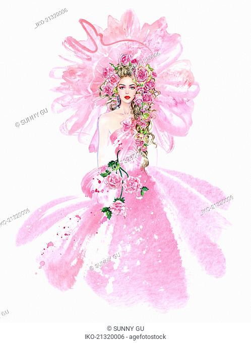 Fashion model in pink evening gown with huge frilly headdress